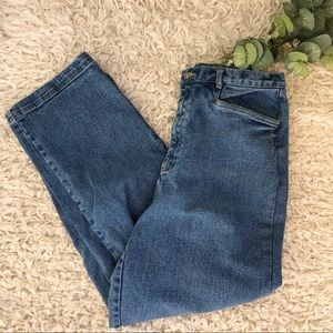 Vintage High waisted cropped medium wash jeans